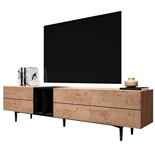 Newfurn TV Lowboard Schwarz Wildeiche TV Schrank Vintage Industrial - 195x48x37 cm (BxHxT)...