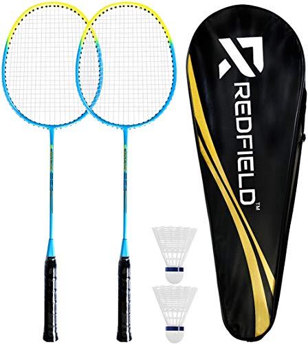 Redfield™ Badminton Set - 2 Badmintonschläger - 2 Federbälle - Tragetasche - Federball...