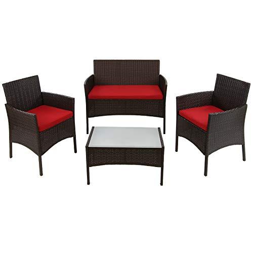 BB Sport 7-teilige Polyrattan Sitzgruppe für 4 Personen inkl. Sitzpolster und Tisch...