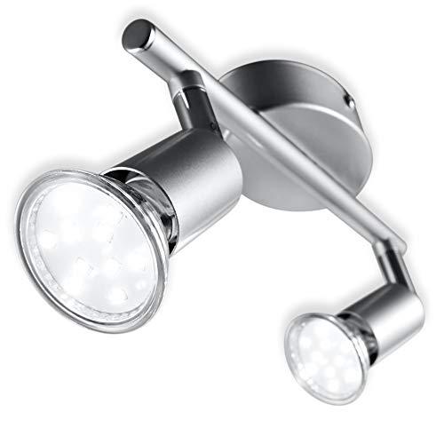 B.K.Licht I LED Deckenleuchte I Schwenkbar I Inkl. 2x 3W Leuchtmittel GU10 I Warmweiße...