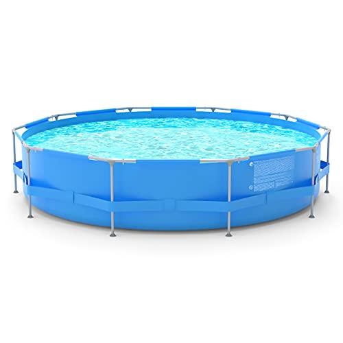 Sekey rundes Aufstellpool 3.6m, Metallschwimmbad Ø 360 * 76 cm, für Kinder und die ganze...