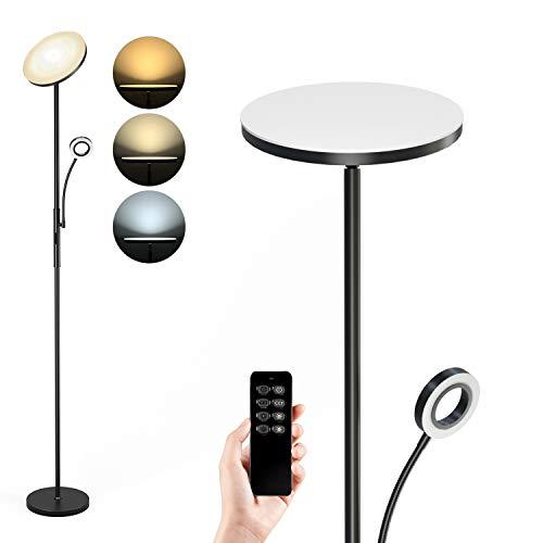 Anten Stehlampe LED Dimmbar | Schwarz Stehleuchte 30W mit flexibler 5W Leselampe | Modern...