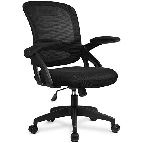 COMHOMA Bürostuhl Schreibtischstuhl Ergonomischer Drehstuhl Chefsessel Netz Stuhl Black
