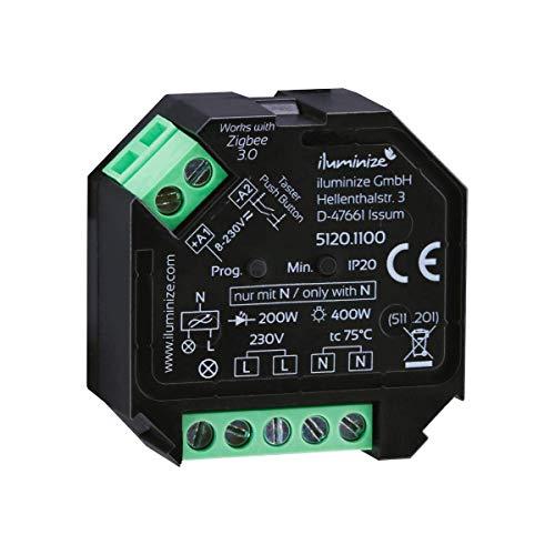 iluminize Zigbee 3.0 Dimm-Aktor Mini, 1 Kanal 230V, max. 200W/400W, Lightlink & Touchlink,...