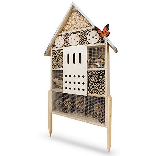 WILDLIFE FRIEND Insektenhotel XL, 76cm mit Standfuß & Metalldach - Unbehandelt,...