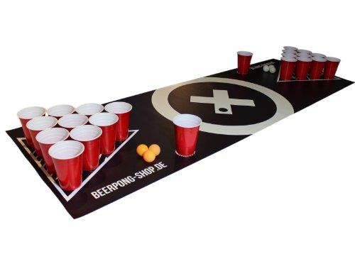 Beer Pong Tisch Matten Set Audio Table Design inkl. 70 Red Cups, 6 Beer Pong Bälle und...