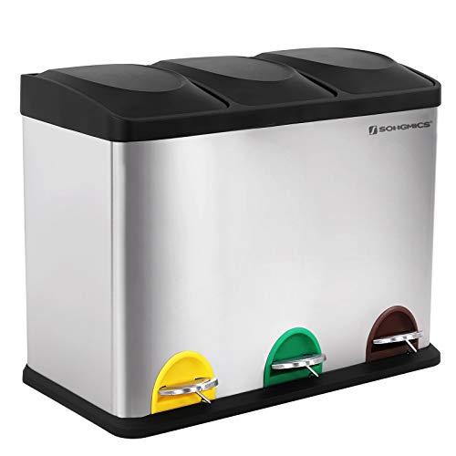 SONGMICS Mülleimer für die Küche, Abfallbehälter, 45 Liter, Abfalleimer mit...