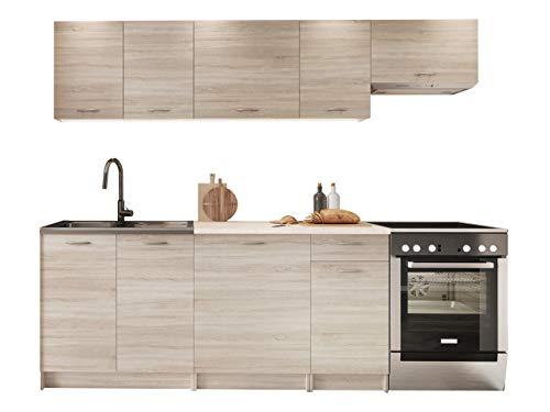 Küche Mela 180/240 cm, Küchenblock/Küchenzeile, Farbauswahl, 7 Schrank-Module frei...