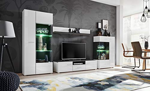 KRYSPOL Wohnwand SOLIDO Anbauwand, Wohnzimmer-Set, Modern Design (Norwegische Kiefer...