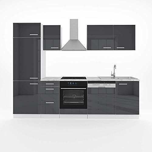 Vicco Küche Optima 270 cm Küchenzeile Küchenblock Einbauküche Komplettküche – Frei...