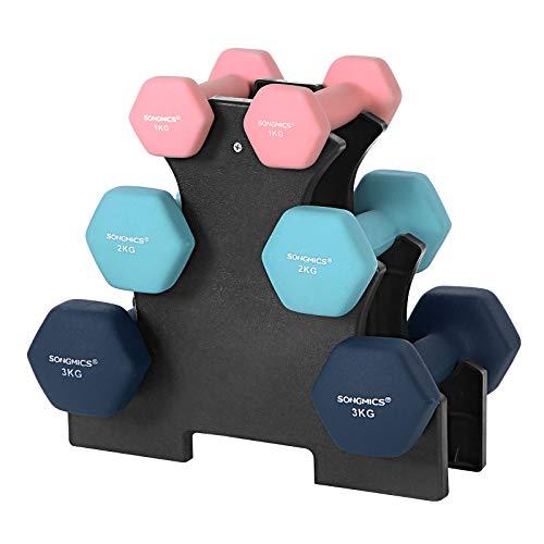 SONGMICS Kurzhantel Set, Hexagon, mit Hantelständer, 2 x 1 kg, 2 x 2 kg, 2 x 3 kg, Mattes...