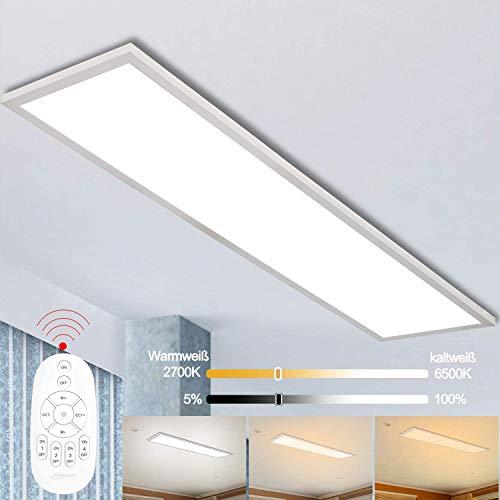 Dimmbar LED Deckenleuchte Panel 120x30 cm mit Fernbedienung, 40W Super Deckenpanel Lampe...
