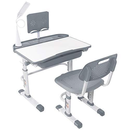 Yinleader Kids Schreibtisch- und Stuhlset, Verstellbarer Kindertisch mit Augenschutzlampe,...