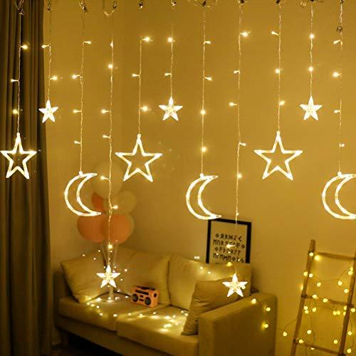 Fangteke LED Lichterketten 3.5M Stern Mond Vorhang Lichter LED Girlande Dekorative Lampe...