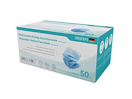 EUROPAPA 50x medizinische OP Maske 3-lagig Atemschutzmasken Typ IIR TÜV CE zertifiziert...