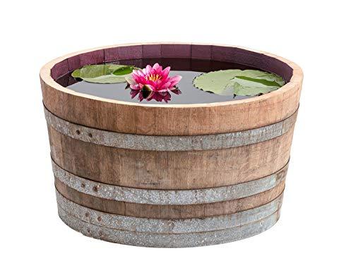 Temesso Holzfass, gebrauchtes Weinfass halbiert aus Eichen-Holz Fass als Pflanzkübel oder...