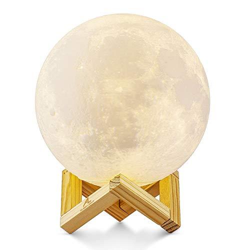 Mondlampe 3D Nachtlicht Dimmbar, ALED LIGHT 15cm LED Mond Lampe Touch Mondlicht...