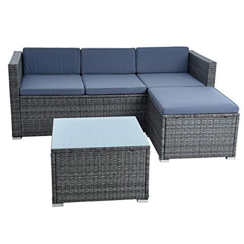 IHD Rattan Lounge Sitzgruppe Polyrattan Gartenmöbel Set Couch 3-Sitzer Rattanmöbel Sofa...