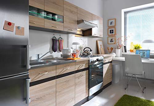 Küche 240cm in Eiche von FIWODO® - ERWEITERBAR - günstig + schnell - Einbauküche...