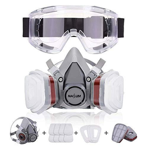 NASUM Halb Gesicht Abdeckung Wiederverwendbare, Serie Grau M401, mit Schutzbrille,...