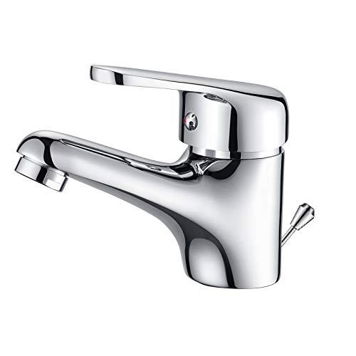 Auralum Wasserfall Wasserhahn Bad mit Zugstange, Einhebel-Waschtischarmatur mit...