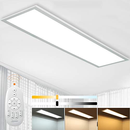 Dimmbar LED Deckenleuchte Panel 100x25 cm mit Fernbedienung, 28W Flache Deckenpanel Lampe...