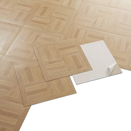 PVC Bodenbelag - Selbstklebende Fliesen - Heller Holzboden-Effekt - Beige - 2,04m²/22...