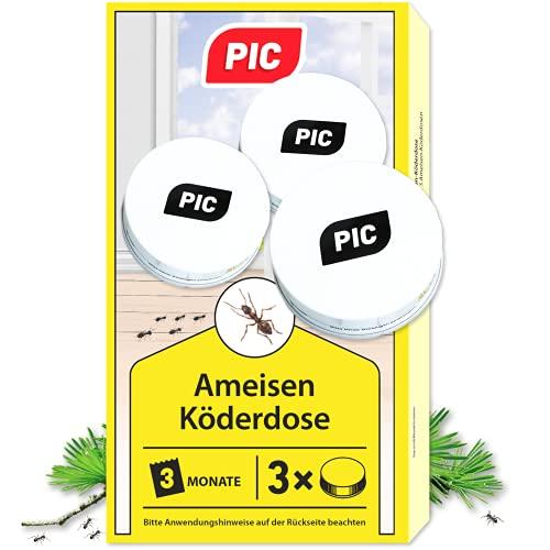 PIC - Ameisenköder Dose - 3 Stück – Ameisenköder für Innen, Terrasse, Balkon und...