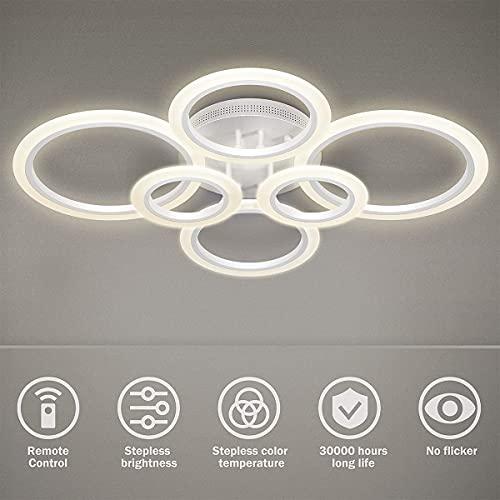 LED Deckenleuchte, 6 Ring 72W Kronleuchter Dimmbar Kreative Acryl Design Lampe...