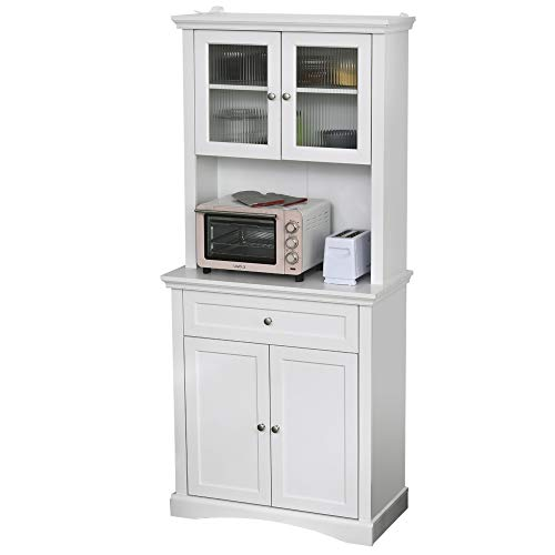 HOMCOM Küchenschrank mit Schublade, Hochschrank mit verstellbaren Ablagen, Kommode, MDF,...