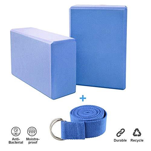 JIM'S STORE 2pcs Yoga Blöcke mit 1.8m Yogagurt, Yogablock/Yoga-Block Set Yoga und Pilates...