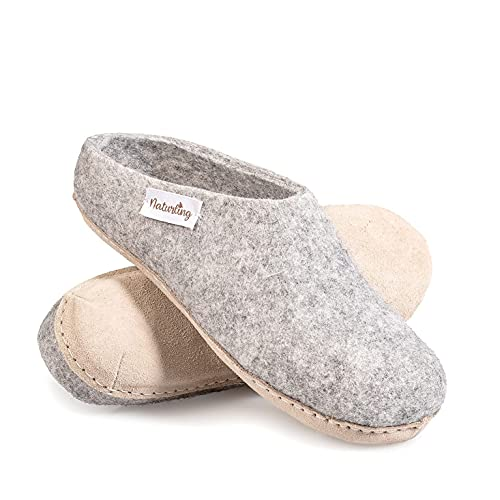 naturling Damen Hausschuhe Filz Pantoffeln Ledersohle Grau 41 (Grau, 41 EU, numeric_41)