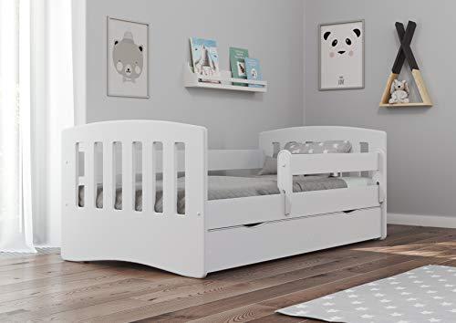 Bjird Kinderbett Jugendbett 80x160 80x180 Weiß mit Rausfallschutz Schublade und...