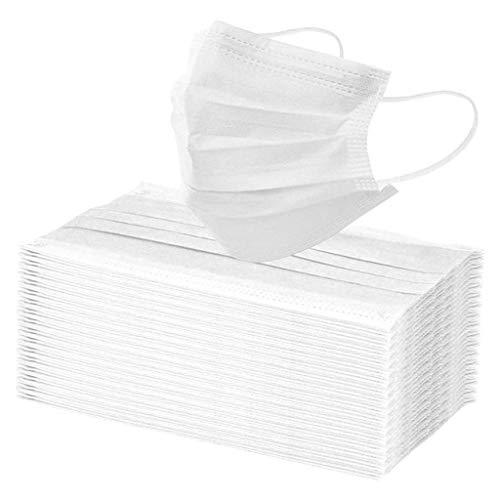 Lulupi 100 Stück Mundschutz Multifunktionstuch Weiß Atmungsaktiv Einweg Mund und...