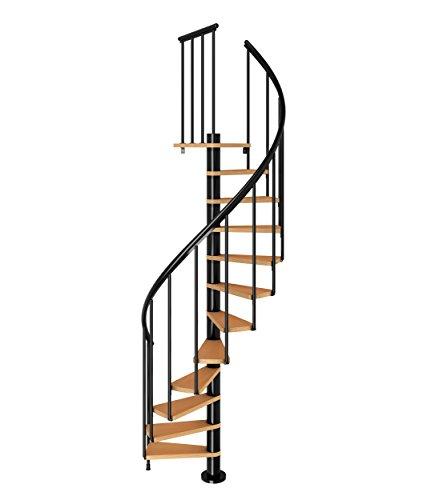 Spindeltreppe Wendeltreppe Calgary, Geschosshöhe: 244,8-280,8 cm, Stufen: Buche,...