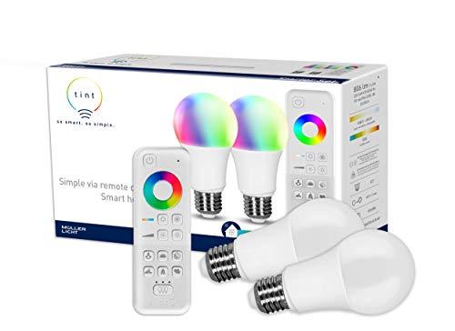 tint von Müller-Licht Smartes Starter 2er-Set: 2 x LED Lampe E27, Birnenform, white-color...
