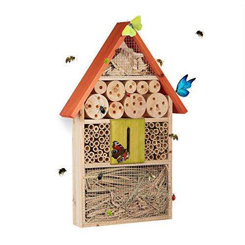 Relaxdays Insektenhotel für Schmetterlinge, Käfer, Bienenhaus zum Aufhängen, Balkon,...
