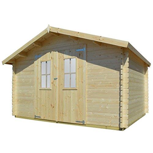 vidaXL Massivholz Gartenhaus 2 Türen mit 2 Fenstern Blockhaus Gerätehaus Schuppen...