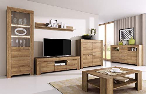 Furniture24 Wohnzimmer Set Wohnwand Sky Tv Schrank Vitrine Hängeregal Kommode Sideboard...