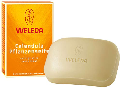 WELEDA Calendula Pflanzenseife, vegane Naturkosmetik Seife mit ätherischen Ölen reinigt...