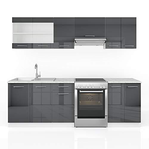 Vicco Küche Raul Küchenzeile Küchenblock Einbauküche 240 cm Edelgrau Anthrazit- Frei...
