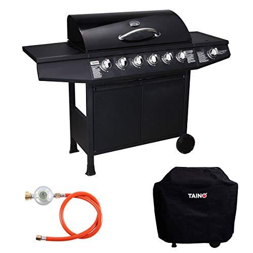 TAINO Basic 6+1 Gasgrill Set inkl. Abdeckung/Druckminderer Grillwagen BBQ...