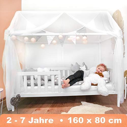 Alcube Hausbett 160x80 cm - stabiles Kinderbett mit wechselbarem Rausfallschutz und...
