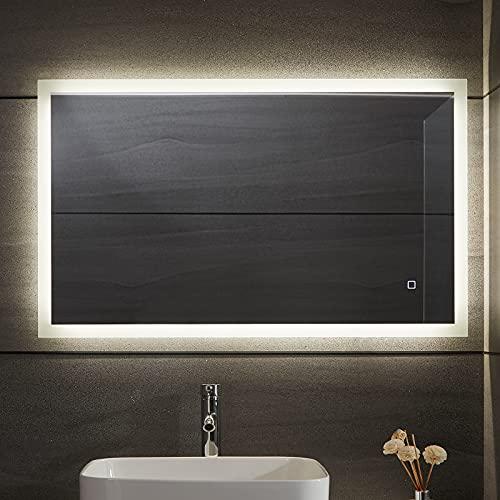 Aquamarin® LED Badspiegel - Beschlagfrei, Dimmbar, 3 Lichtfarben 3000-7000K, Kaltweiß...