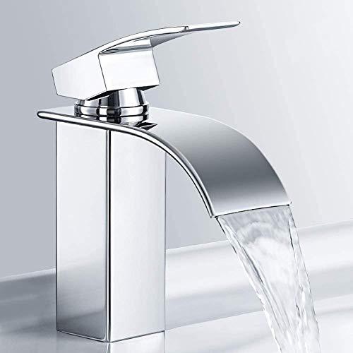 M MEHOOM Wasserfall Wasserhahn Bad, Wasserhahn Waschbecken für Badezimmer, Einhandmischer...