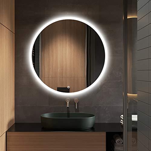 S·Bagno Moderner runder beleuchteter Badezimmerspiegel mit LED-Beleuchtung, 600 mm...