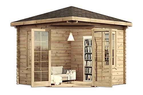 Alpholz 5-Eck Gartenhaus Victor aus Massiv-Holz | Gerätehaus mit 44 mm Wandstärke |...