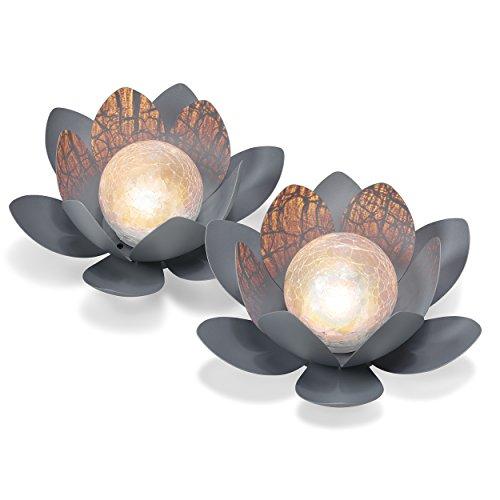 Dekoratives Solar Lotusblüten 2er Set aus Metall - angenehm warmweißes Licht -...