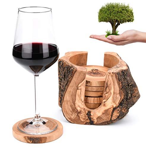 OLIVIEU ~ 6 Luxus Untersetzer Gläser mit Halter aus Olivenholz ~ Natürlich & Nachhaltig...