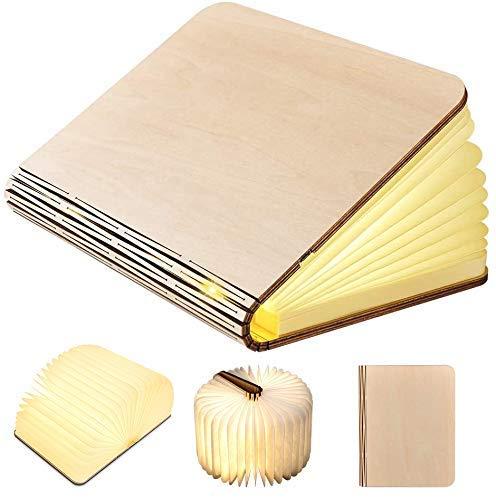 GEEDIAR Große LED Buch lampe in Buch Form Holzbuch mit 2500 mAh Akku Lithium...